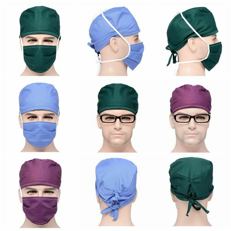 Hats+Mask Sets Hospital Surgical Nursing Scrubs Anti-dust Caps For Women Men Doctor Pharmacy Dentistry Nurse Cotton Caps Mask