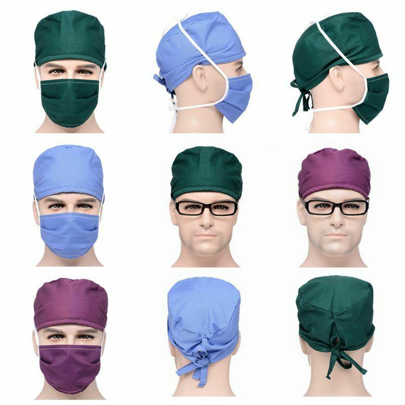 Hats+Mask Sets Hospital Surgical Nursing Scrubs Anti-dust Caps For Women Men Doctor Pharmacy Dentistry Nurse Cotton Caps Mask