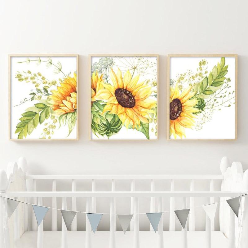 Sunflower Girl Plant Canvas Poster Nursery Print Modern Home Wall Decor for Kids