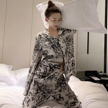 New Animal Printing Pajamas Women Winter Long Sleeve Pajamas Korean Household Clothes Loungewear Pijama Mujer Nightgown