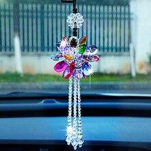 Belle décoration de voiture en cristal, pendentif pampilles de fleurs en strass, rétroviseur, accessoires de décoration de voiture