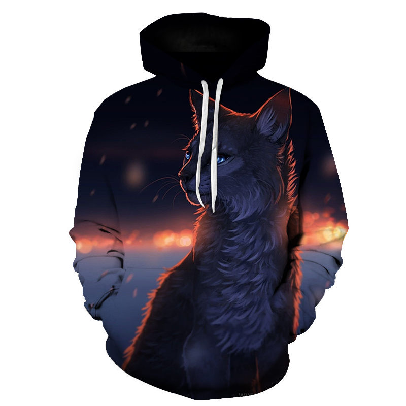 Women's Two Cat Sweatshirts Long Sleeve 3D Hoodies Sweatshirt Pullover Tops Blouse Pullover Hoodie Poleron mujer Confidante Tops 81