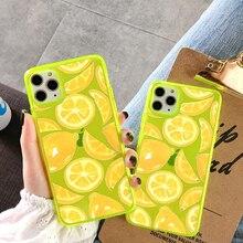 Funda de teléfono suave de limón amarillo fluorescente de moda para iphone 11 Pro Max XR X XS Max 7 8 plus funda trasera transparente suave Capa