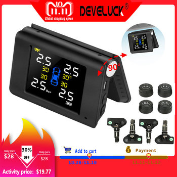 TPMS LED color Large screen USB and  Solar Power Charge Tire Pressure Alarm Monitoring System 4 Built-in or External Sensor LCD tpms wireless car intelligent tire pressure monitoring system solar power usb charge led display 4 internal and external sensors