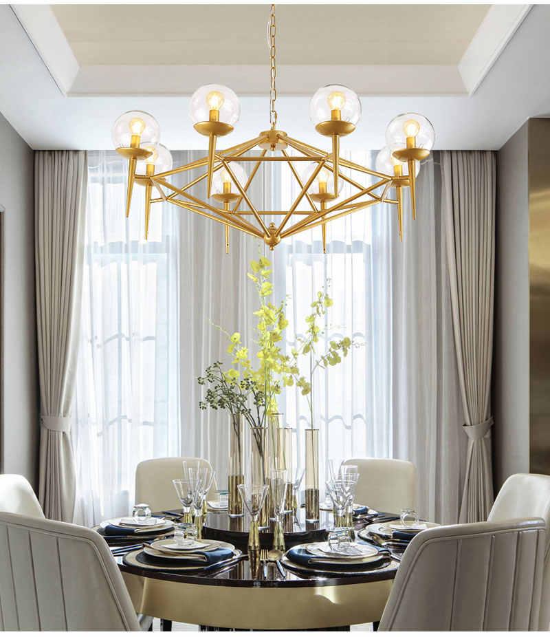 Chandelier Modern gold molecule magic bean chandelier glass LED lamp living room lamp Parlor Bedroom Art Hotel Suspension G853