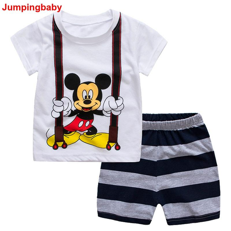 Kids Outfits Tracksuit Pajama-Set Spiderman Boys Clothes Ensemble Baby-Boy Mickey Summer title=