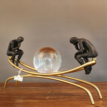 Stainless steel Crystal ball meditator nordic statue craft home decoration sculpture living room furnishings office gift p0449 image