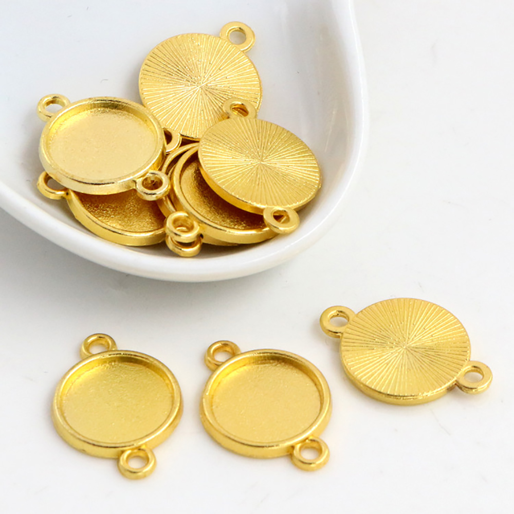 20pcs 12mm Inner Size Gold Color Bracelet Connection Style Cabochon Base Cameo Setting Charms Pendant (B6-52)