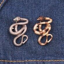 Moda Metal Cobra Broş Renkli Monokrom İki Kristal Yaka Benim Ceket Retro Pin Erkekler Ve Kadınlar Hayvan Aksesuarları Hediye