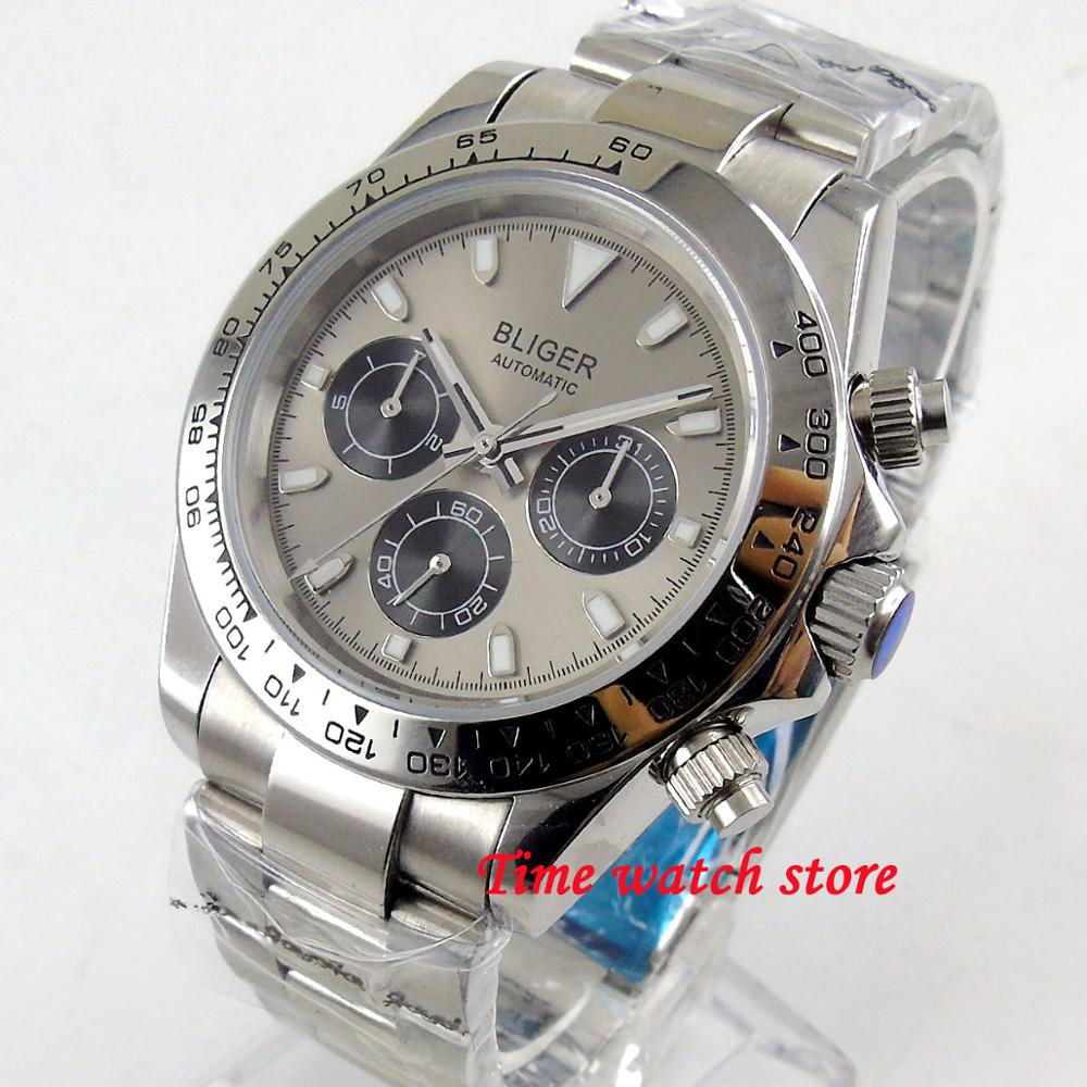 40mm Bliger Multifuction Automatic watch men Sapphire glass Date waterproof grey dial silver SS bracelet ceramic dezel b237