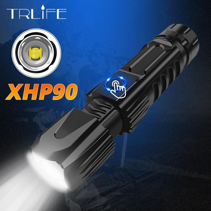 Linterna LED CREE XHP90 XHP70.2, potente linterna táctica resistente al agua, control inteligente de chip con cono de ataque inferior con batería 26650 Linterna de luz de emergencia recargable multifunción LED 30/60/90 Mini 30 lámpara de luz LED de emergencia para campamento en casa al aire libre