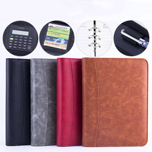 PU Leather Padfolio A5 File Folder with Calculator Binder Business Notebook Manager Office Organizer Document Folder Briefcase