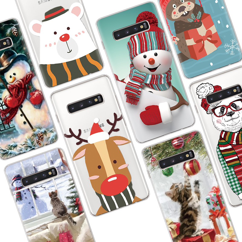 Winter New Snowman Phone Case For Samsung Galaxy S9 S8 S10 S6 S7 Edge S10e Plus S5 Mini M10 M20 M30 M40 Christmas Case Clear TPU