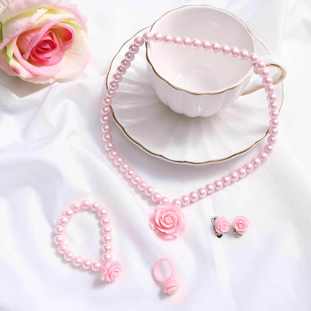 1 Juego de joyería para niños y niñas, collar con forma de flor de perla para niños, pulsera, anillo, pendientes, Clips, regalo, accesorios de alta calidad