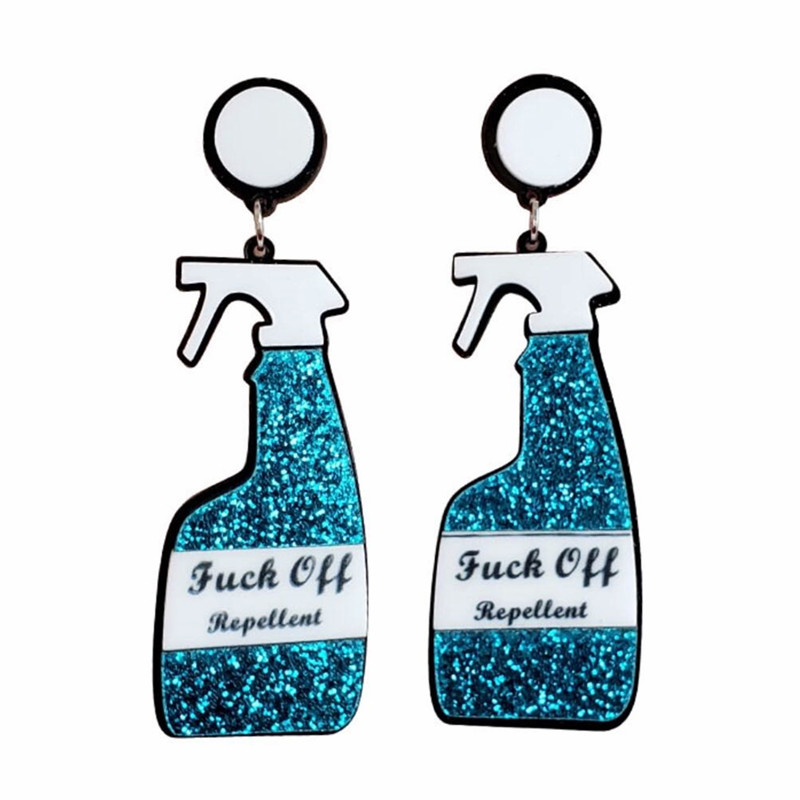 Женские и женские акриловые серьги-подвески, длинные висячие серьги в форме бутылки с распылителем и блестящим розовым и синим покрытием, в...