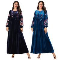 2019 Fashion Muslim Women Embroidery Abaya Long Maxi Dress Robe Islamic Clothing Kaftan Dubai Gown Arab Drawstring Draped Design