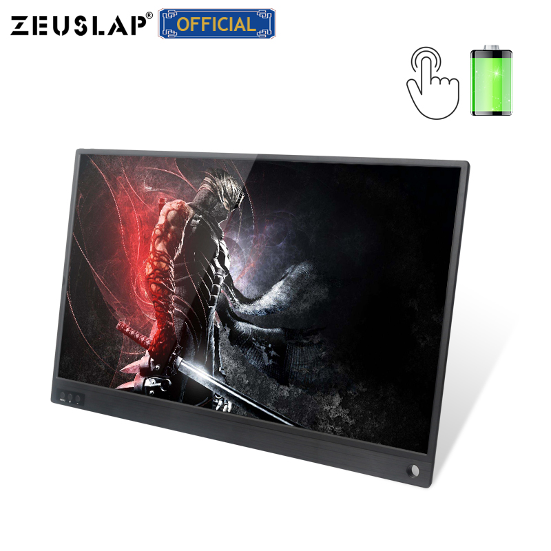 ZEUSLAP NEW 15.6inch Battery Touching Portable Monitor Touch Screen For Samsung S8,s9,huawei Mate10,P30,macbook,ps4,switch