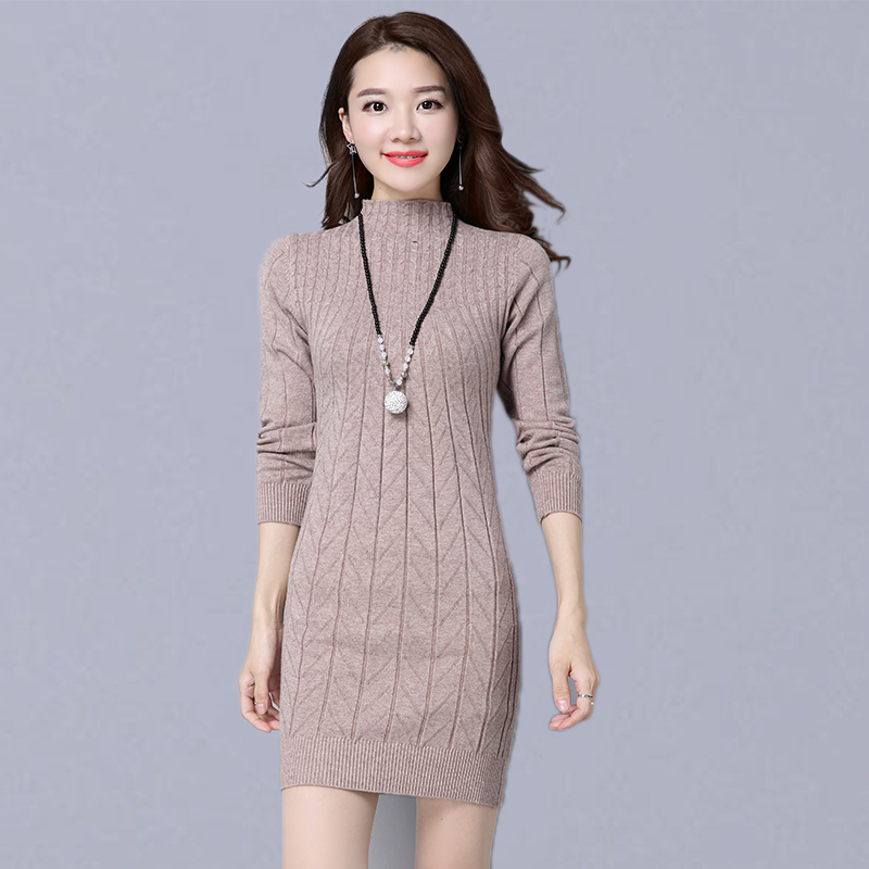 Autumn Winter Basic Long Pullovers Sweaters Women New Fashion Korean Style Slim Female Casual Knitted Sweater Dresses P131