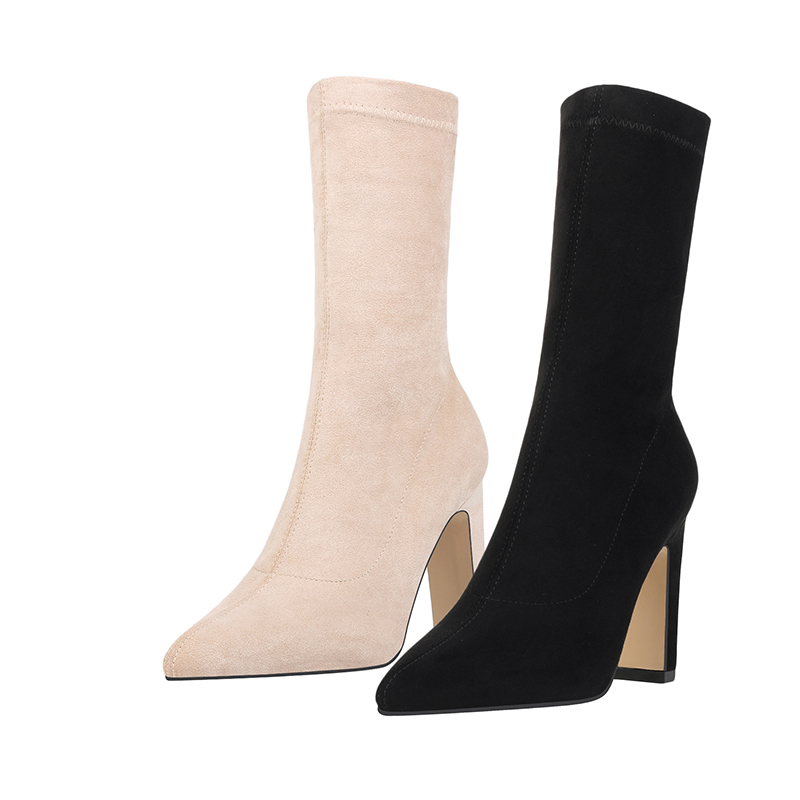 Image 5 - Women High Heel Sock Boots Plus Size Sexy Flock Pointed Toe Ankle Booties Female Sexy Party Winter Woman Fashion Shoes BootsAnkle Boots   -