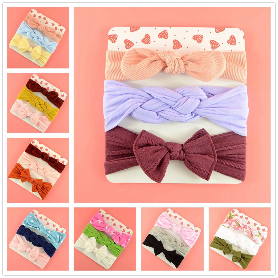 3 Pcs//Set Bowknot Baby Headband Elastic Hair Band For Girls Bows Children Turban