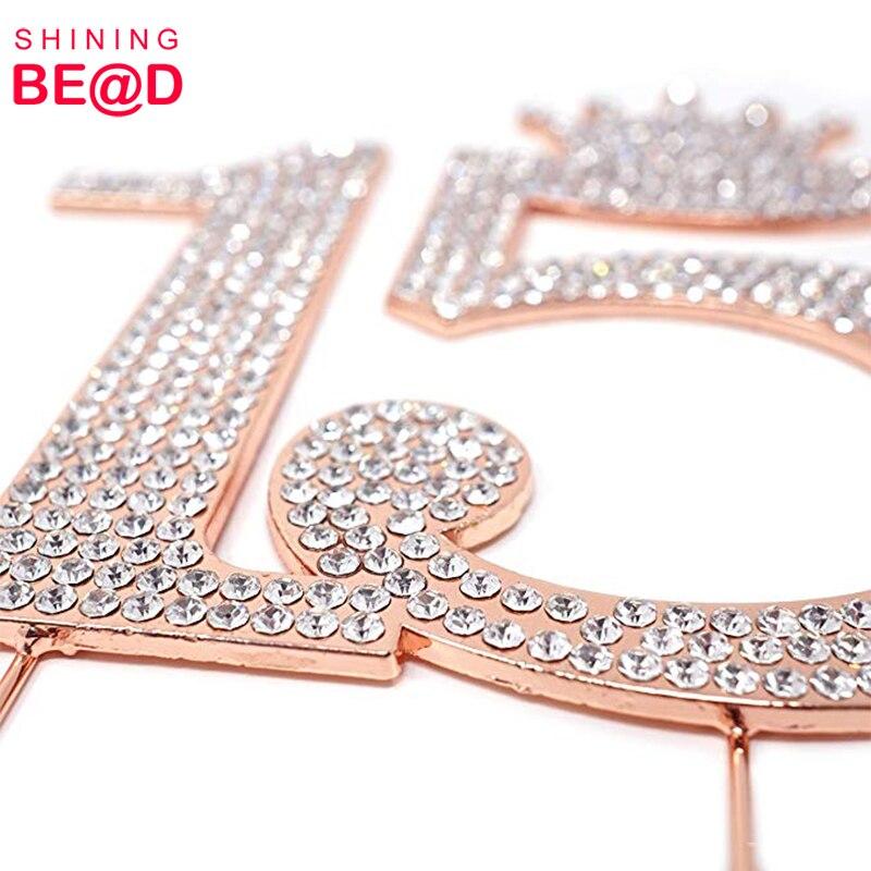 Лидер продаж розовое золото металл номер 15 корона принцессы из страз монограмма торт Топпер для сладкий 15 день рождения