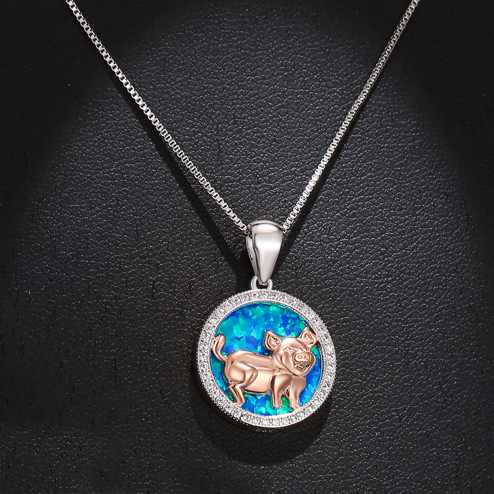 Blue or Pink Floral Pig Necklace 18EarringsBracelet or Set