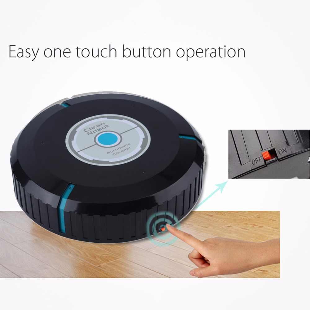 2018 新ホーム自動クリーナーロボットマイクロファイバースマートロボットモップダストクリーナークリーニング-ブラック在庫ドロップ無料