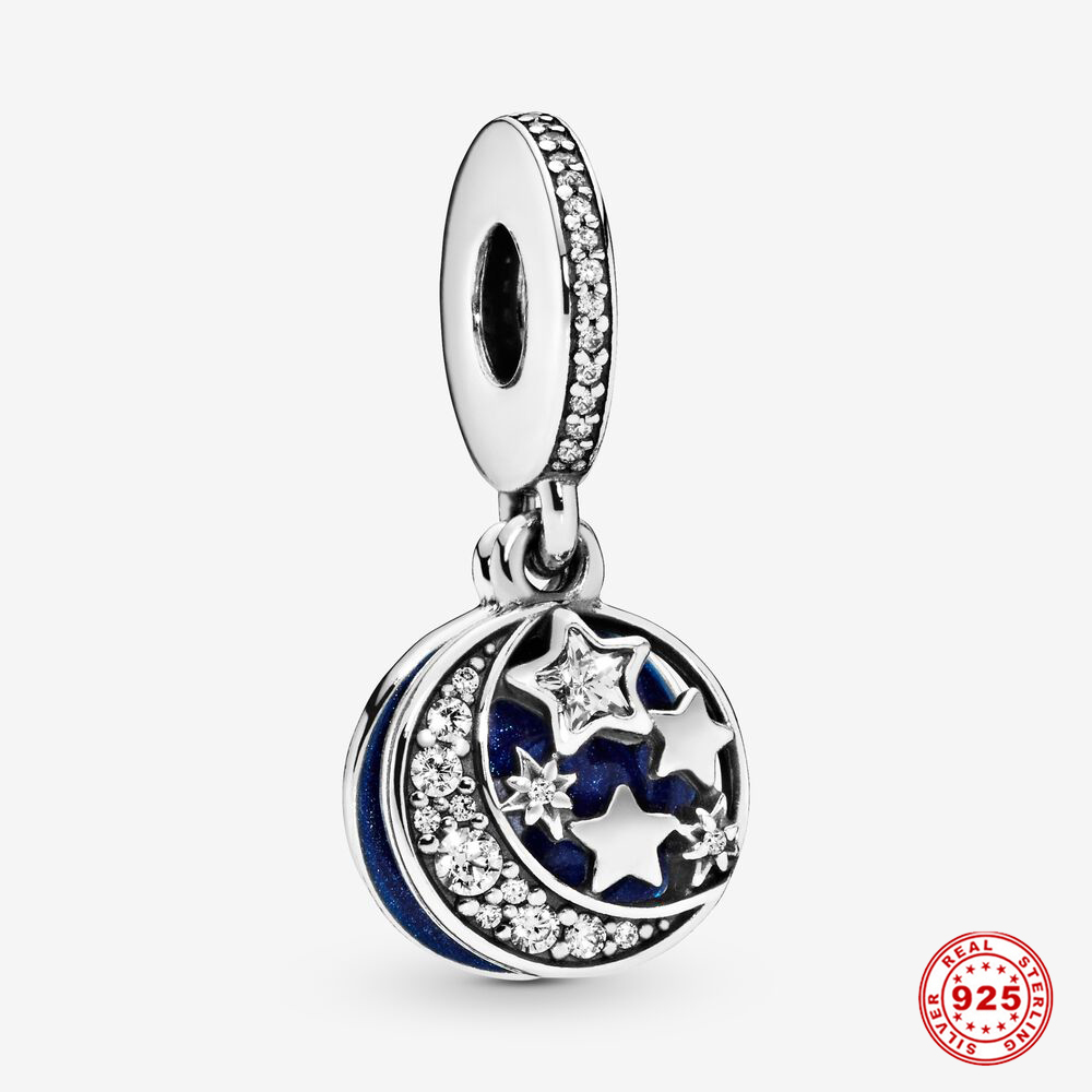 Бусины-шармы серебряного цвета с Луной и звездным небом, 3 мм