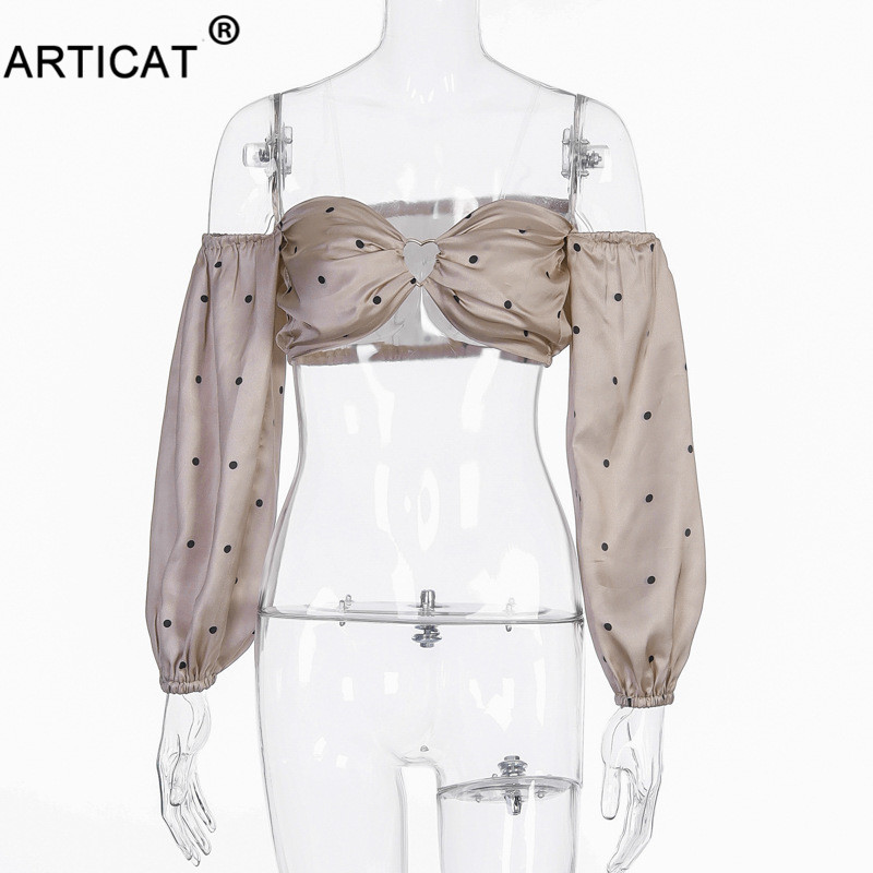 H0282e1dbb3654f188cd063d7bde520f7F - Articat Polka Dot Off Shoulder Crop Top Women Tshirts Vintage Long Sleeve Strapless Short T-shirt Casual Party Christmas Shirt