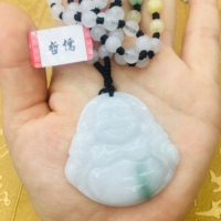 Natural JADESt Pendant Carved Laughing Buddha Pendant with Tri Color Bead Necklace Elegant Ms. Clavicle Chain