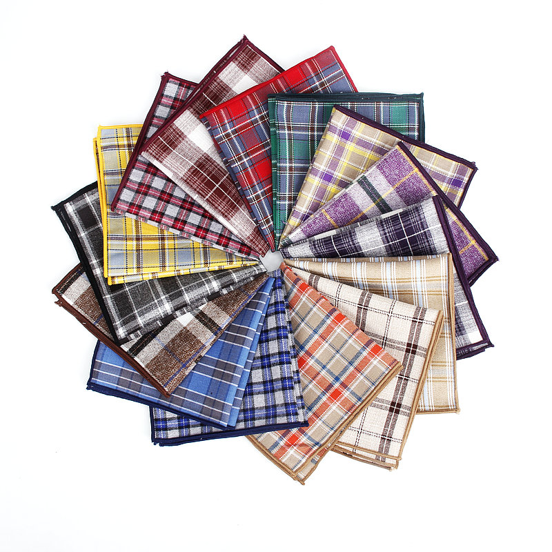 Plaid Colorful Cotton Handkerchiefs Woven Printing Check Pocket Square Mens Casual Streak Square Pockets Handkerchief Towels