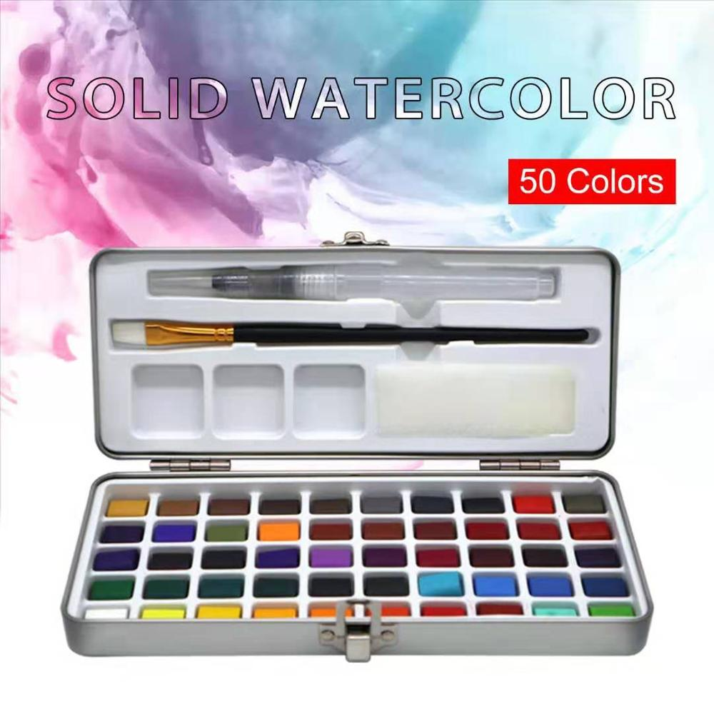 SeamiArt 50 Farbe Solide Aquarell Malen Set Tragbare Metall Box Aquarell Pigment für Anfänger Zeichnung Aquarell Papier Liefert