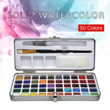 SeamiArt 50Color Solid Watercolor Paint Set Portable Metal Box Pigment for Beginner Drawing Paper Supplies