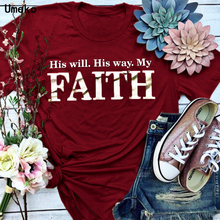 His Will His Way My FAITH Plus Size T Shirt for Women Fashion Round Neck Short Sleeve Tees Tops Summ
