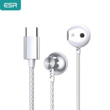 Interfejs ESR type c przewodowe słuchawki przenośne uniwersalne słuchawki z redukcją szumów HIFI Voice Sport słuchawki dla Xiaomi Huawei