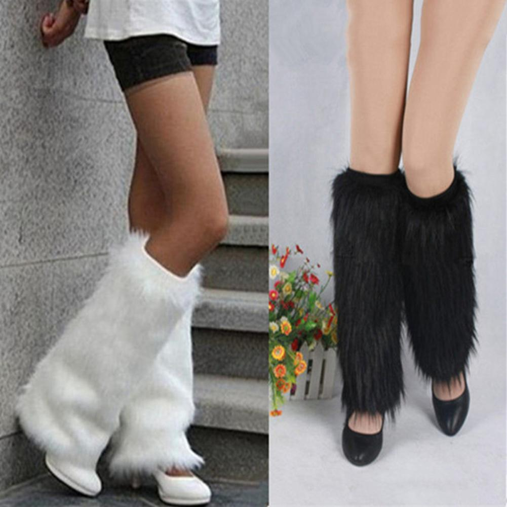2020 New Socks Popular In Europe Winter Solid Color Womens Boot Covers Warm Furry Faux Fur Leg Warmers Fur Long Socks