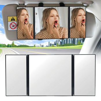 Vehicle Car Makeup Mirror Glass Adjustable Driving Magic Sticker Women Auto Interior Durable Clear Sun Visor Triple Folding image
