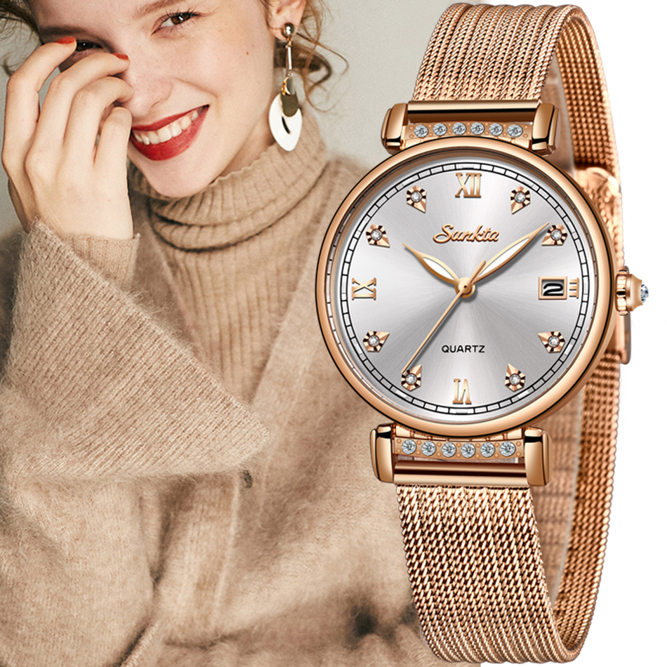 SUNKTA 2019 Listing Rose Gold Women Watches Quartz Watch Ladies Top Brand Luxury Female Watch Girl Clock Relogio Feminino+Box