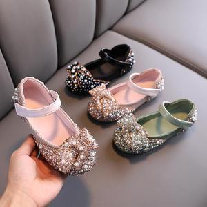 Детские кожаные туфли с бантом, розовые, зеленые, черные вечерние свадебные туфли для девочек-подростков