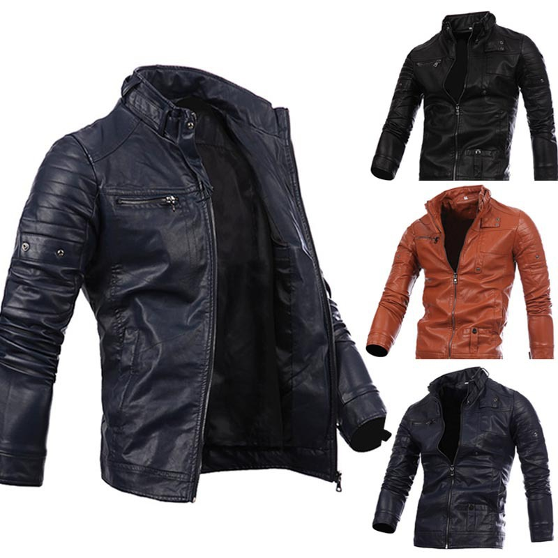Men Leather Coats Multi-zipper Locomotive Coat Leather Black Fur Jacket PU Leather Coat Long-sleeved Fur Jacket