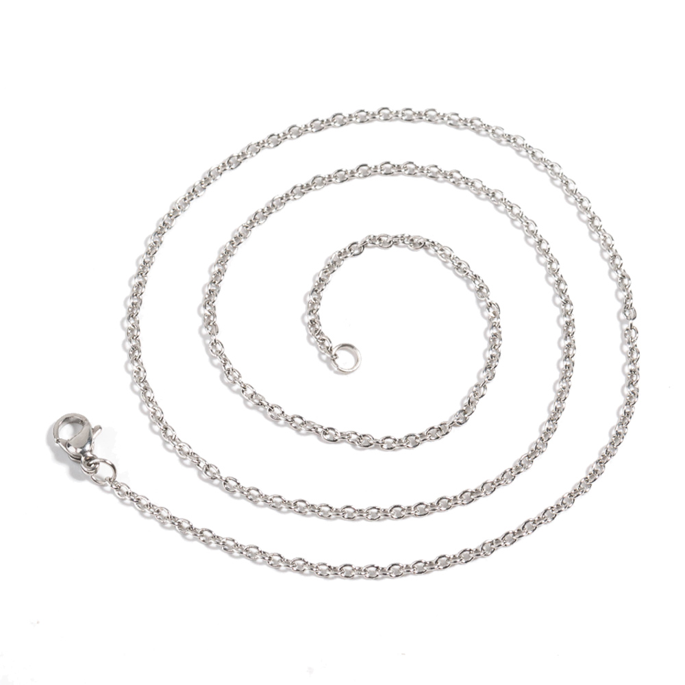 45cm50cm Silver Stainless Steel Link Chains Necklaces Fashion Jewelry for Men Women Gift Accesories Wholesale