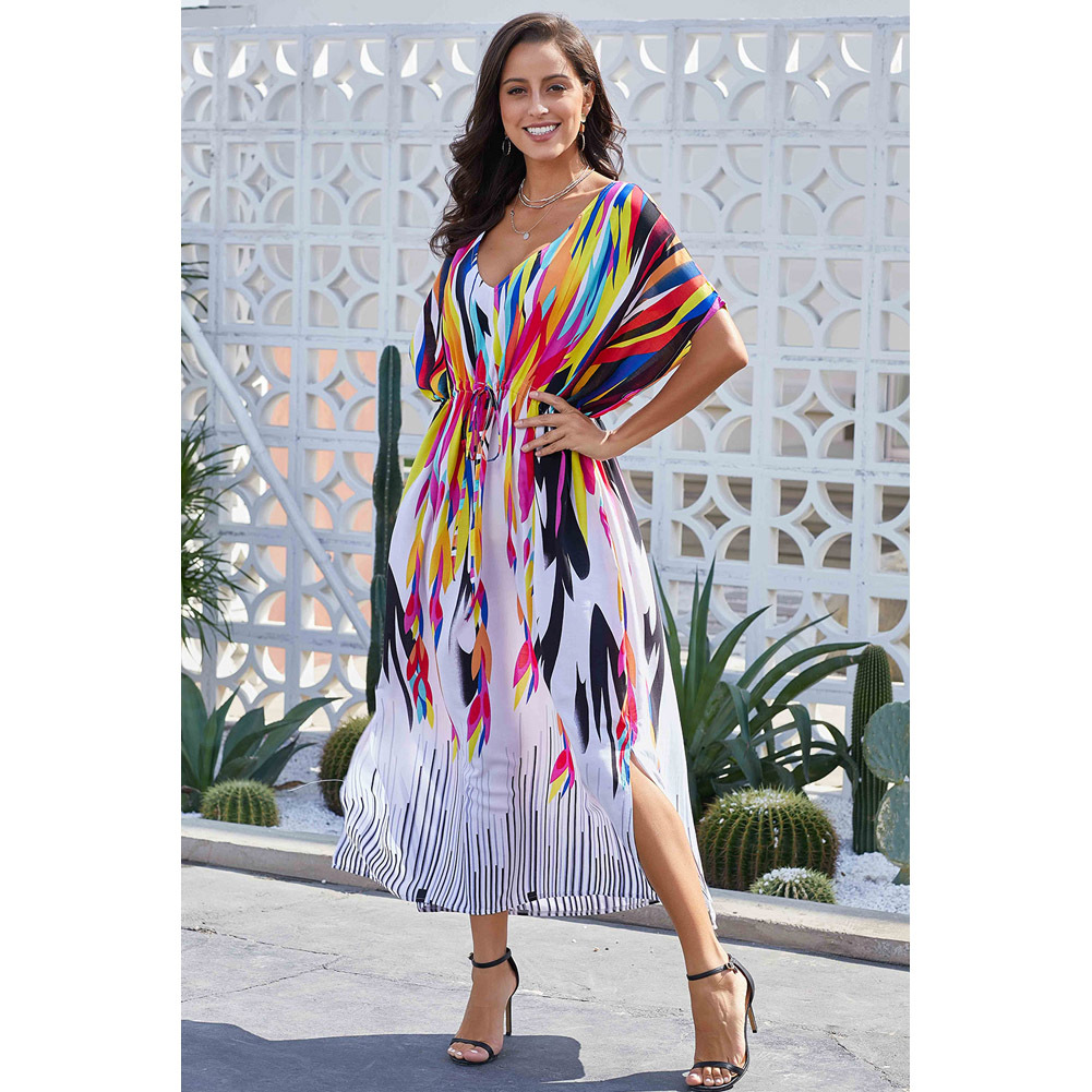 Holiday Beach Skirt Women's New Style Multi-color Printed Sexy V-neck Bat Sleeve Kaftan Dress 420118