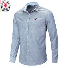 Fredd マーシャル 2020 新カジュアル刺繍シャツ男性綿 100% 古典的なデニムシャツ男性ファッションスリムフィットソリッドカラーシャツ 210