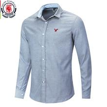 Fredd Marshall 2020 Neue Casual Stickerei Hemd Männer 100% Baumwolle Klassische Denim Hemd Männlichen Mode Slim Fit Einfarbig Shirts 210