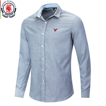 Мужская Повседневная рубашка с вышивкой Fredd Marshall, Классическая джинсовая рубашка из 100% хлопка, однотонная приталенная рубашка, 2020