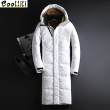2020 New Winter Men X-Long Coats Casual Jackets Quality and Comfortable Outerwear Winter Thick White Duck Down Warm Parka cheap Slim zipper Full Wave Cut Zippers Pockets Thick (Winter) Broadcloth Polyester Acetate Hat Detachable 250g-300g Solid