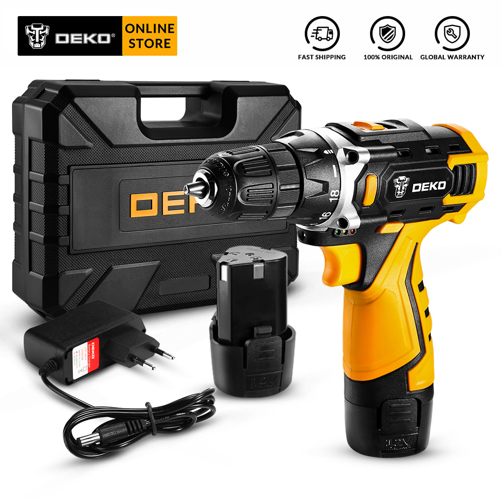 DEKO 12V 16V  20V Cordless Drill with LED Light Electric Screwdriver with Lithium Battery Mini Power Driver LED Worklight Tool