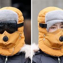 2019 new Russia army mask sunglass hat thick warm winter outdoor hat