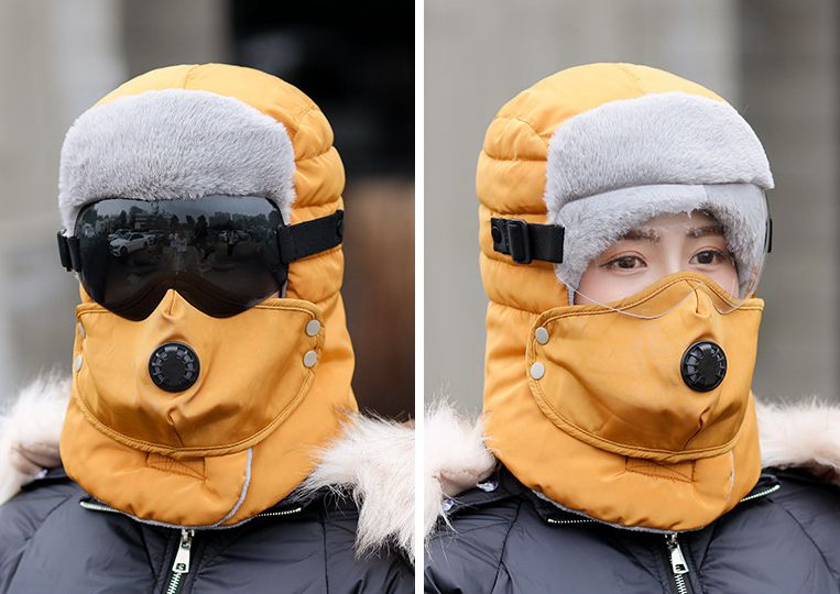 2019 New Russia Army Mask Sunglass Hat Thick Warm Winter Outdoor Hat Bomber Hat Leifeng Hat