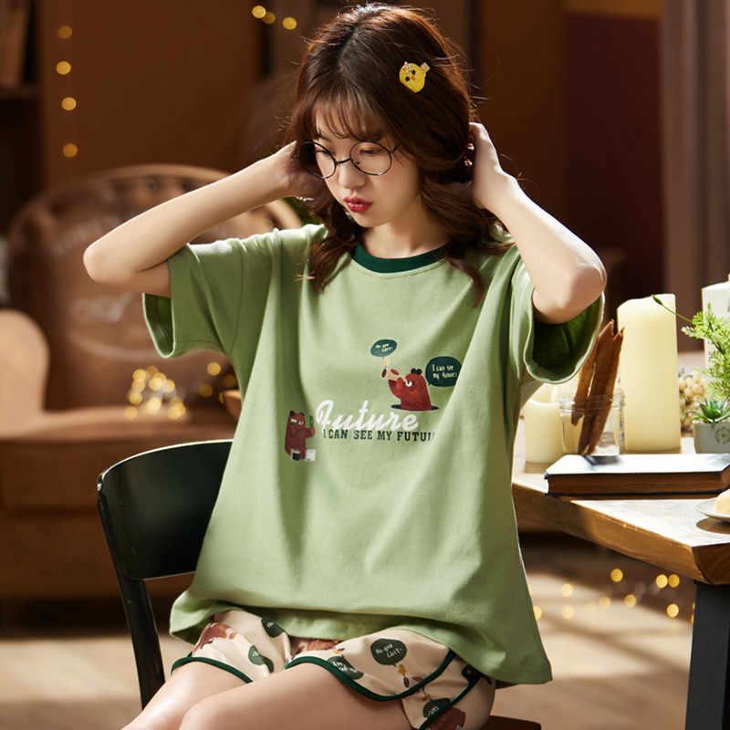 BZEL 여름 코튼 잠옷 반소매 탑 귀여운 만화 인쇄 잠옷 대형 Loungewear Pijama Feminino